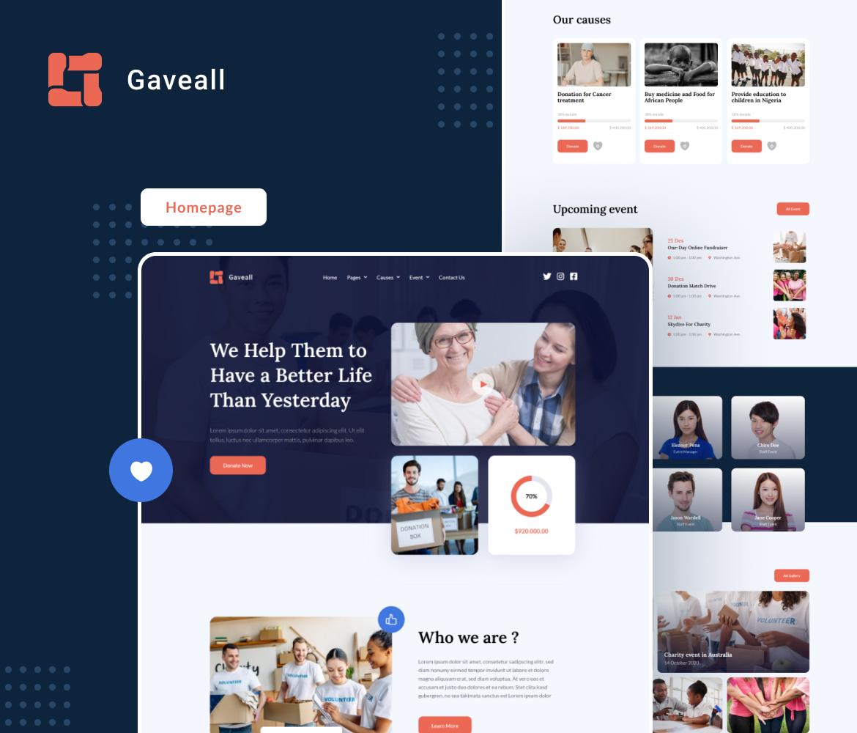 Gaveall   Charity Elementor Template Kit - 1