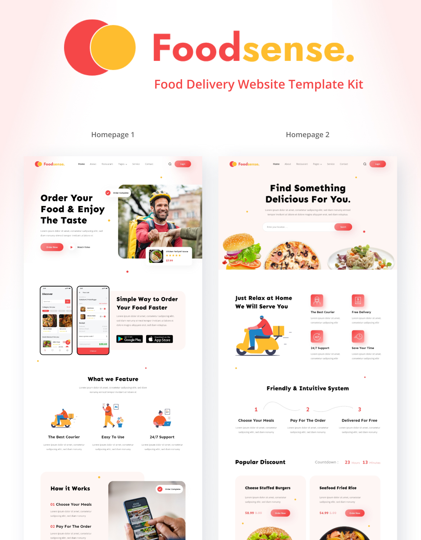FoodSense - Food delivery website template kit - 1