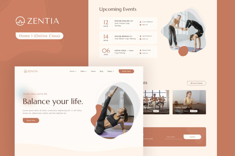 Zentia   Yoga Teacher & Studio Elementor Template Kit - 1