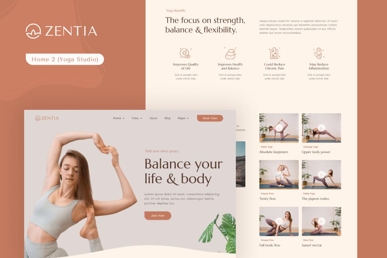 Zentia   Yoga Teacher & Studio Elementor Template Kit - 2